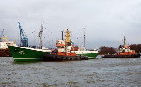 Die 'GERA' kurz vor der Einfahrt ins BREDO-Dock